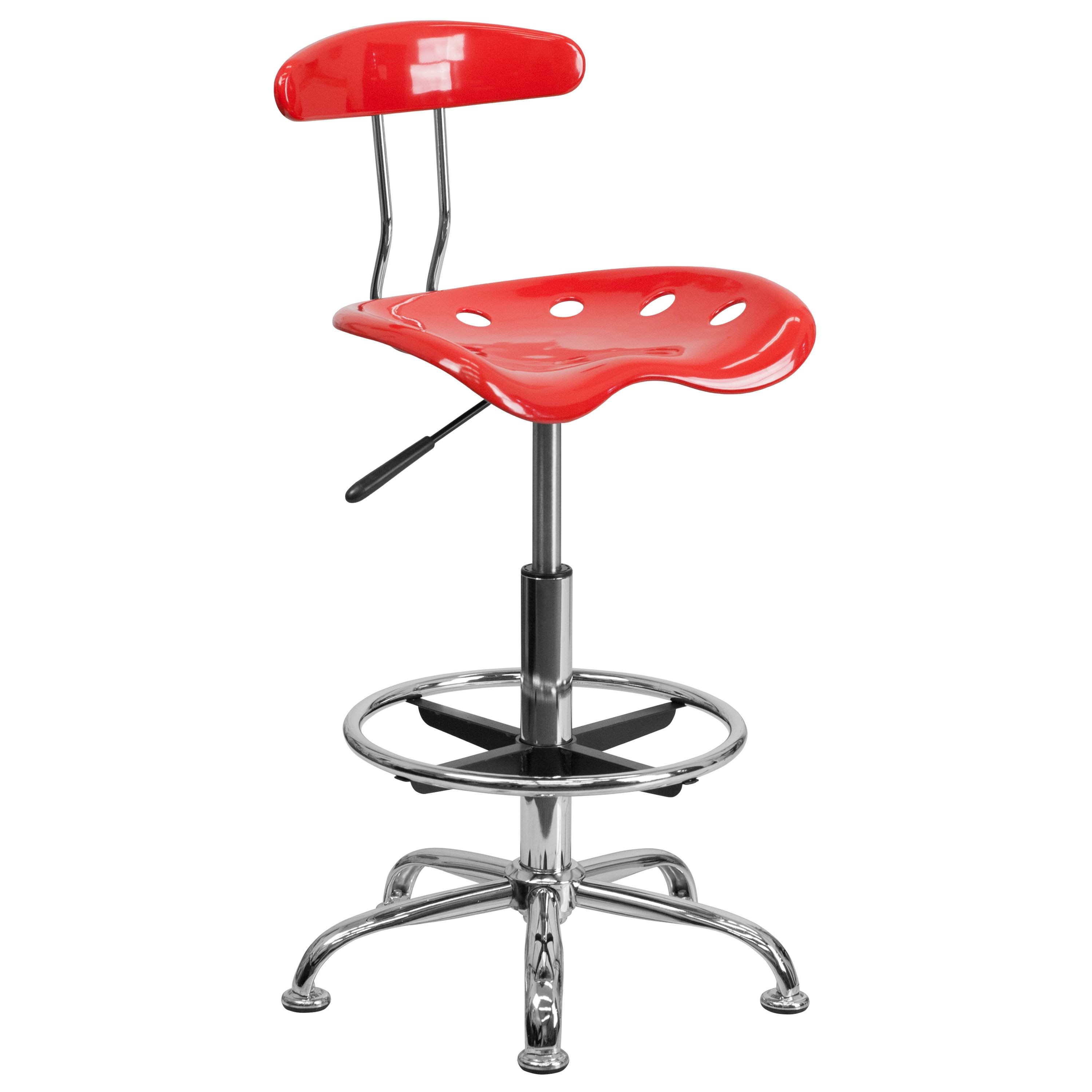 Flash Furniture LF-215-CHERRYTOMATO-GG Vibrant Cherry Tomato and Chrome Bar Height Drafting Stool with Tractor Seat