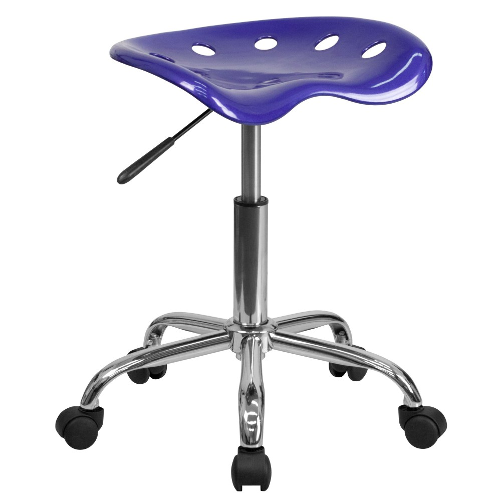 Flash Furniture lf-214a-deepblue-gg Vibrant Deep Blue Tractor Seat and Chrome Stool