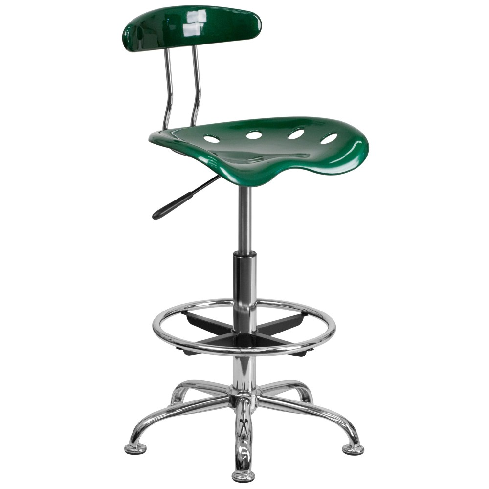 Vibrant Green And Chrome Bar Stool Height Drafting Stool with Tractor Seat