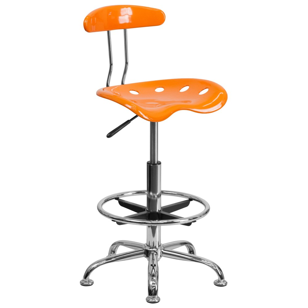 Vibrant Orange And Chrome Bar Stool Height Drafting Stool with Tractor Seat