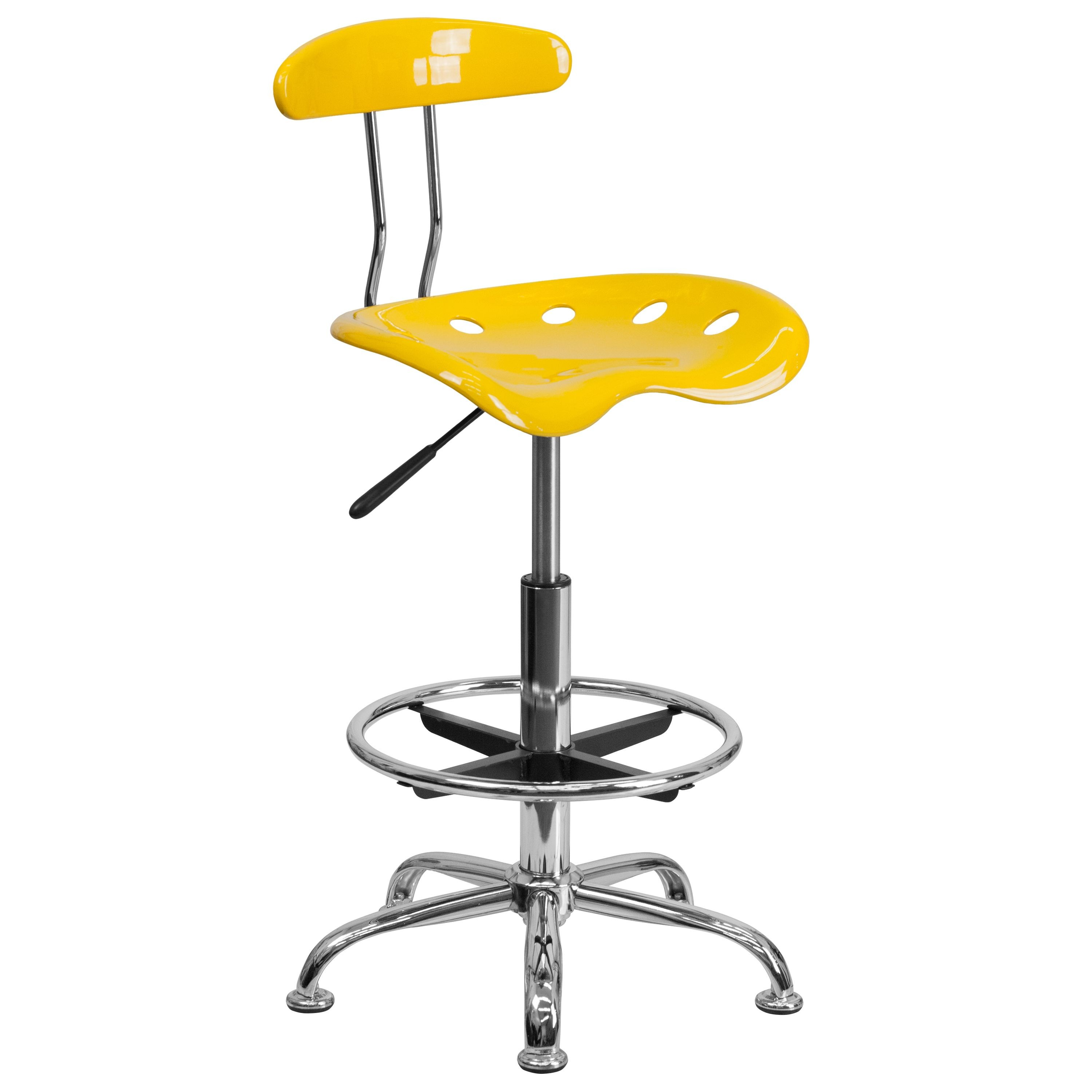 Vibrant Orange-Yellow and Chrome Drafting Stool-Bar Stool with Tractor Seat