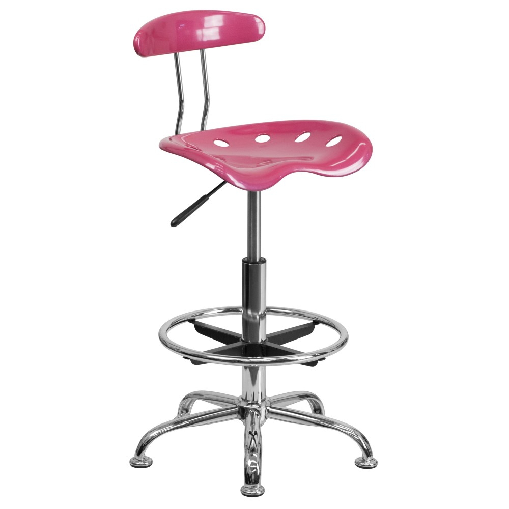 Flash Furniture lf-215-pink-gg Vibrant Pink and Chrome Bar Stool Height Drafting Stool with Tractor Seat