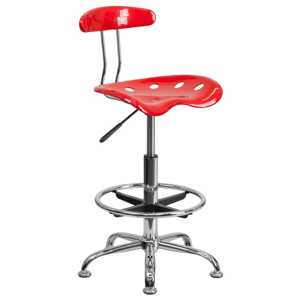 Vibrant Red And Chrome Bar Stool Height Drafting Stool with Tractor Seat