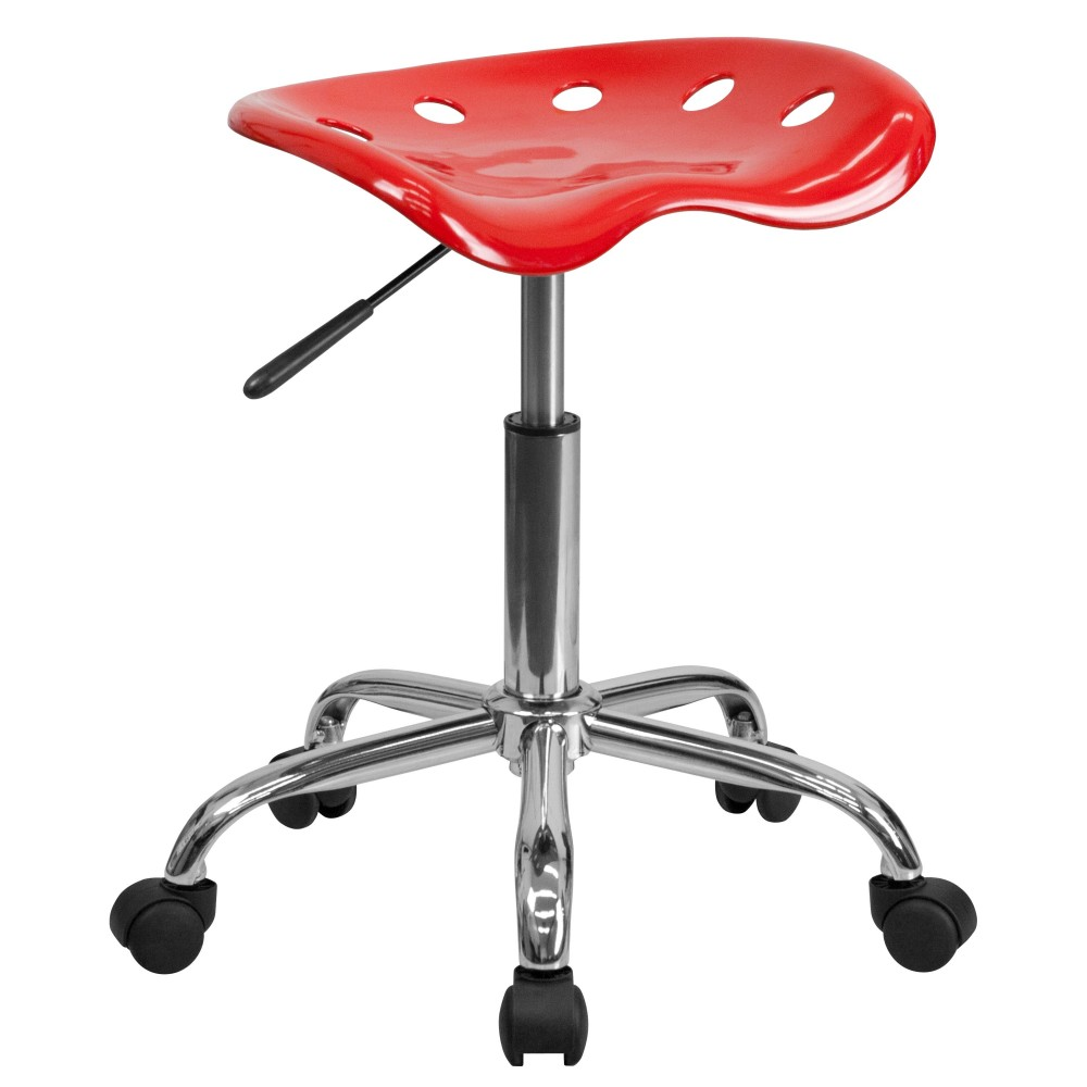 Flash Furniture LF-214A-RED-GG Vibrant Red Tractor Seat and Chrome Stool