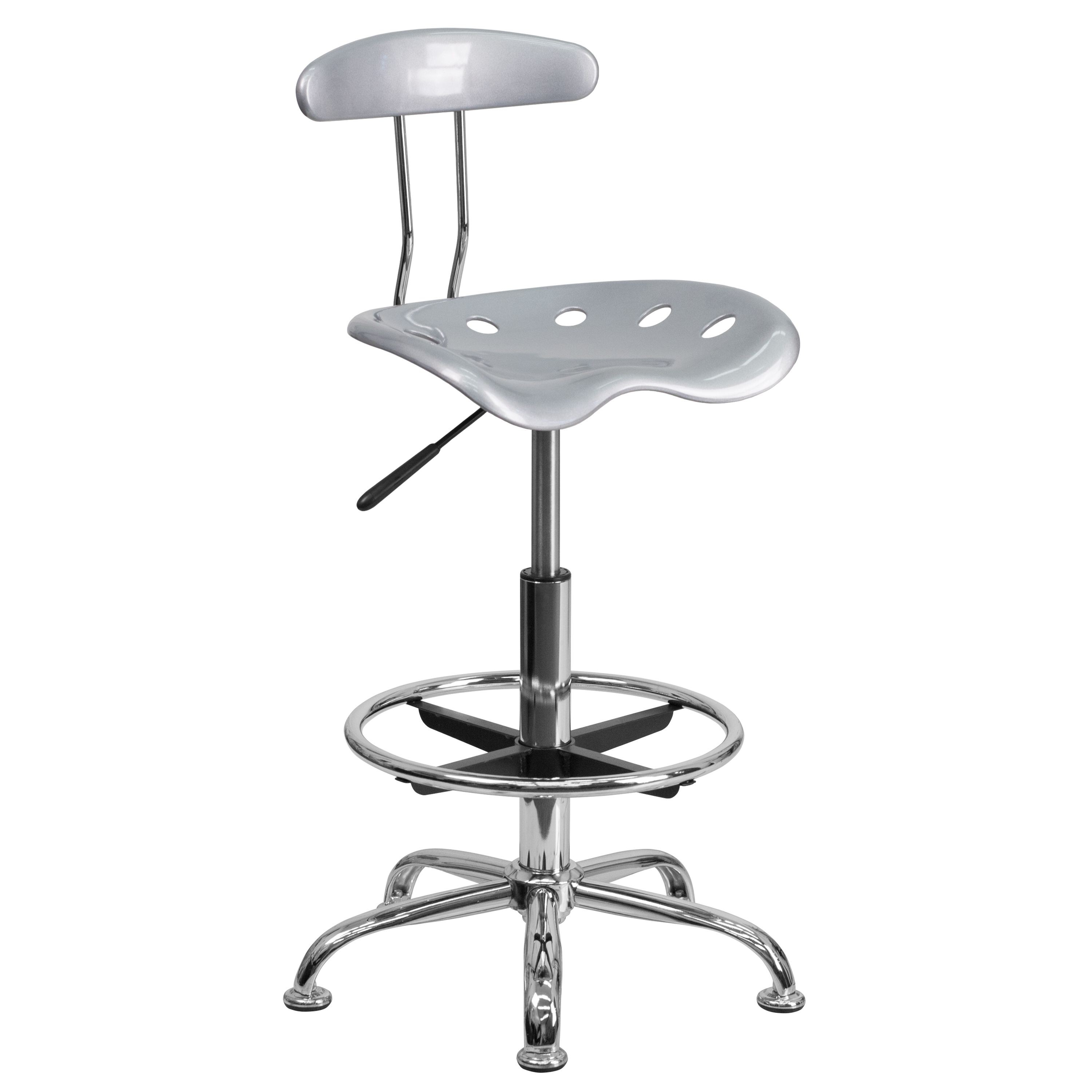 Flash Furniture LF-215-SILVER-GG Vibrant Silver and Chrome Bar Height Drafting Stool with Tractor Seat