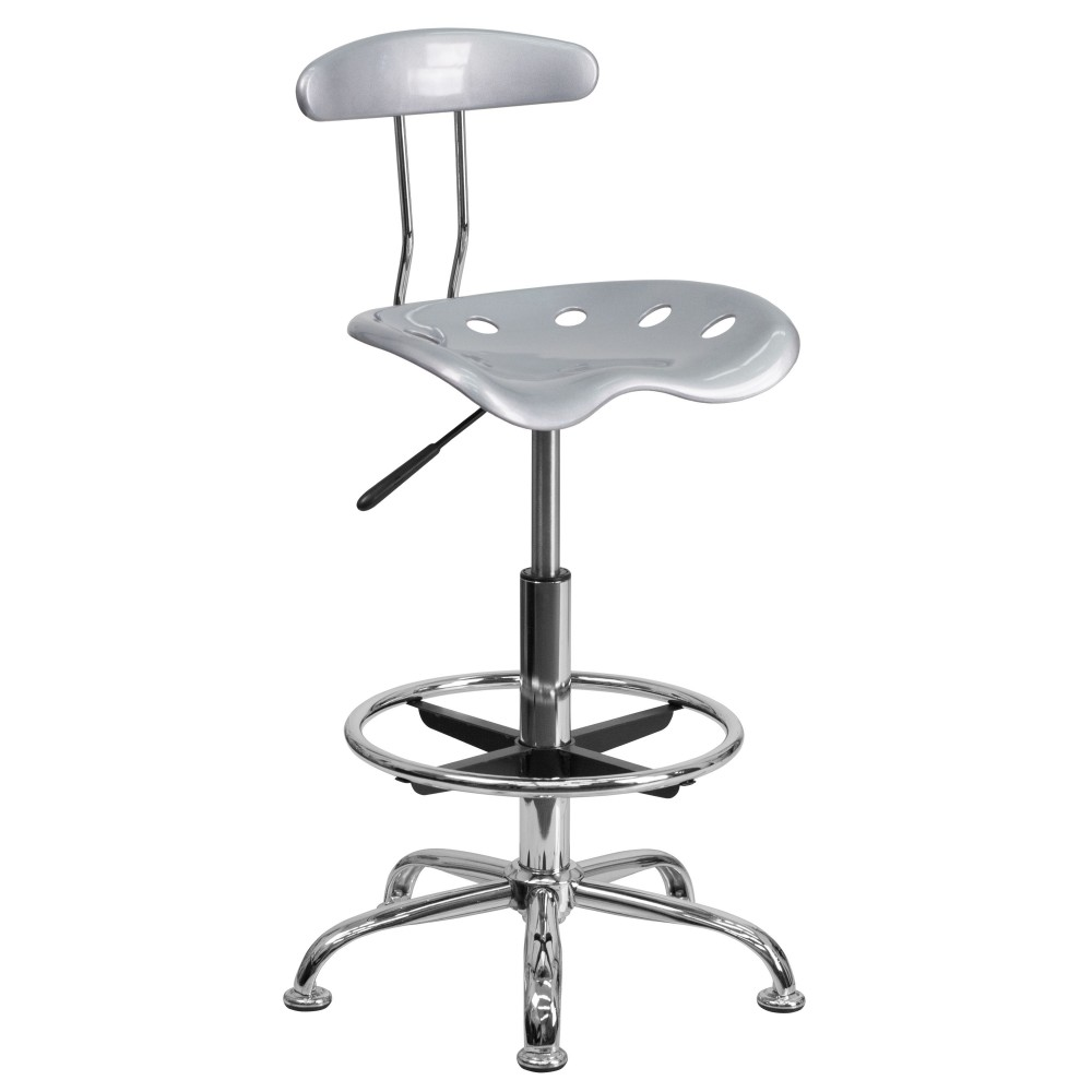 Vibrant Silver And Chrome Bar Stool Height Drafting Stool with Tractor Seat