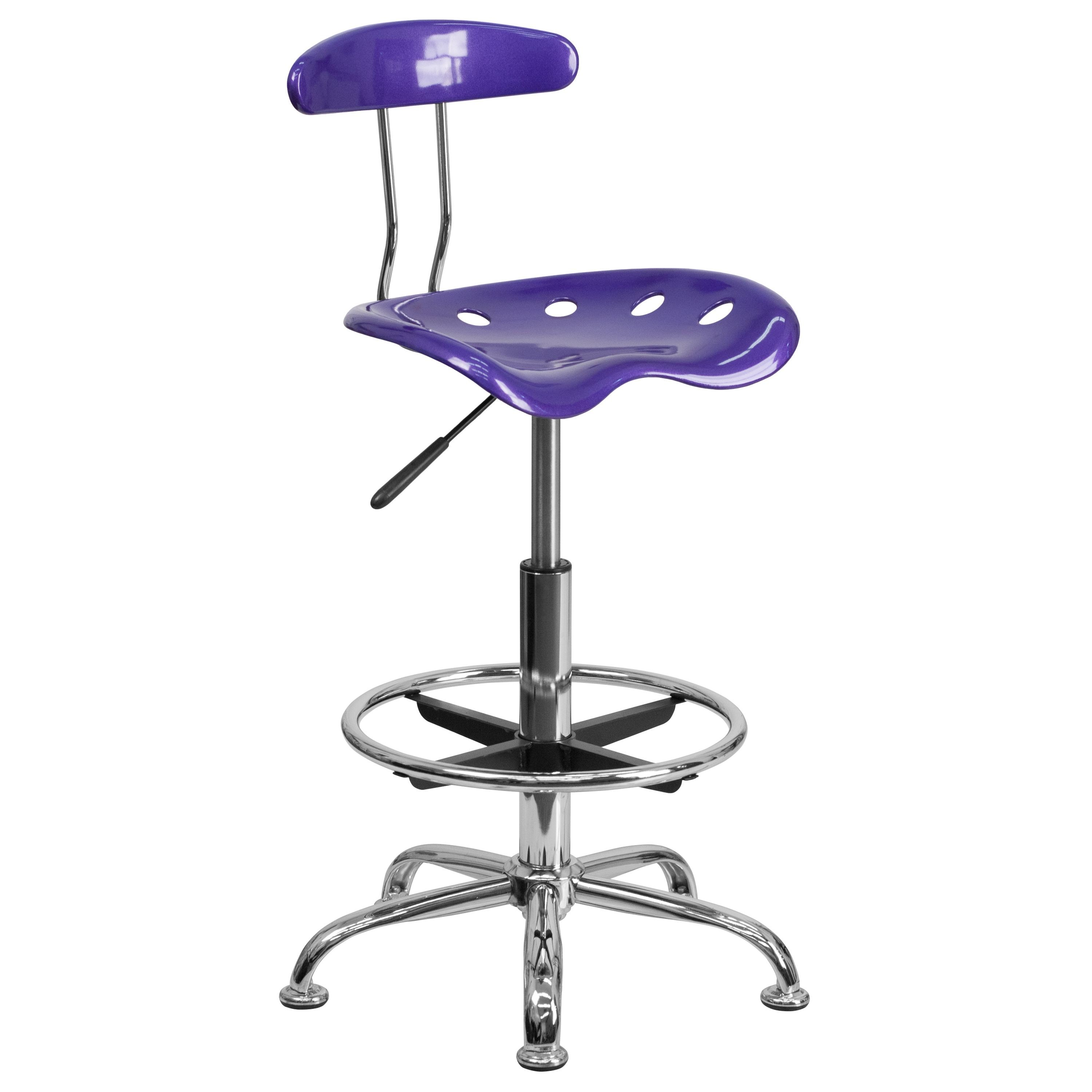 Flash Furniture LF-215-VIOLET-GG Vibrant Violet and Chrome Bar Height Drafting Stool with Tractor Seat