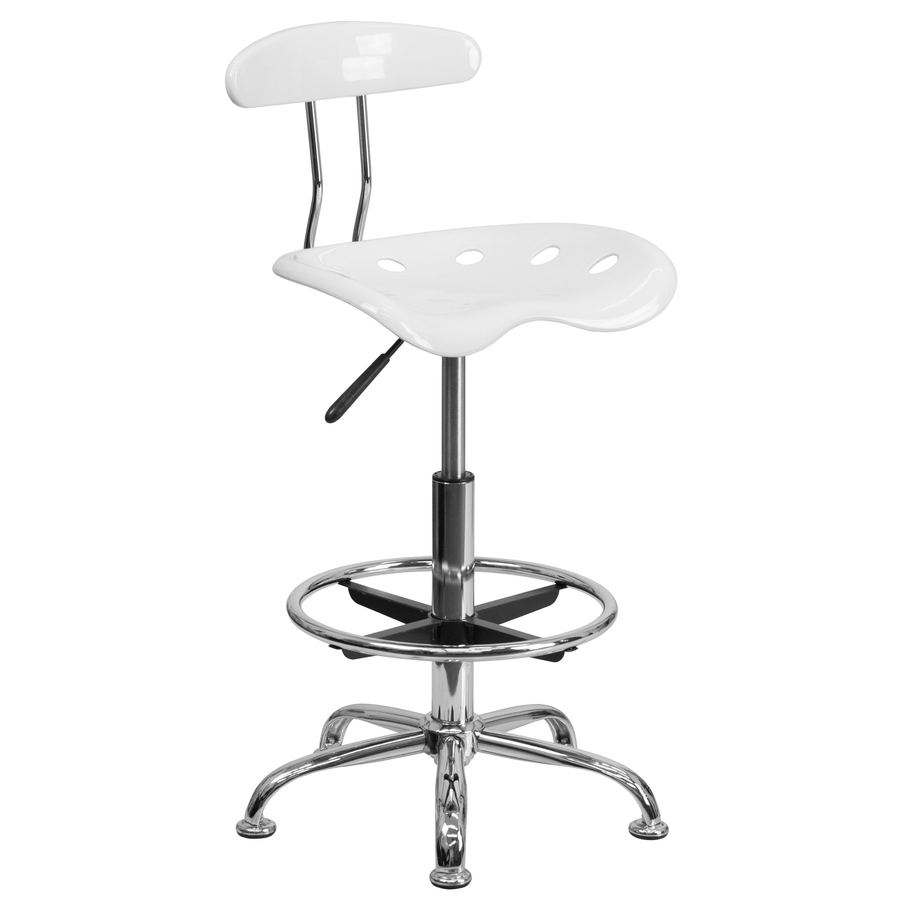 Vibrant White And Chrome Bar Stool Height Drafting Stool with Tractor Seat