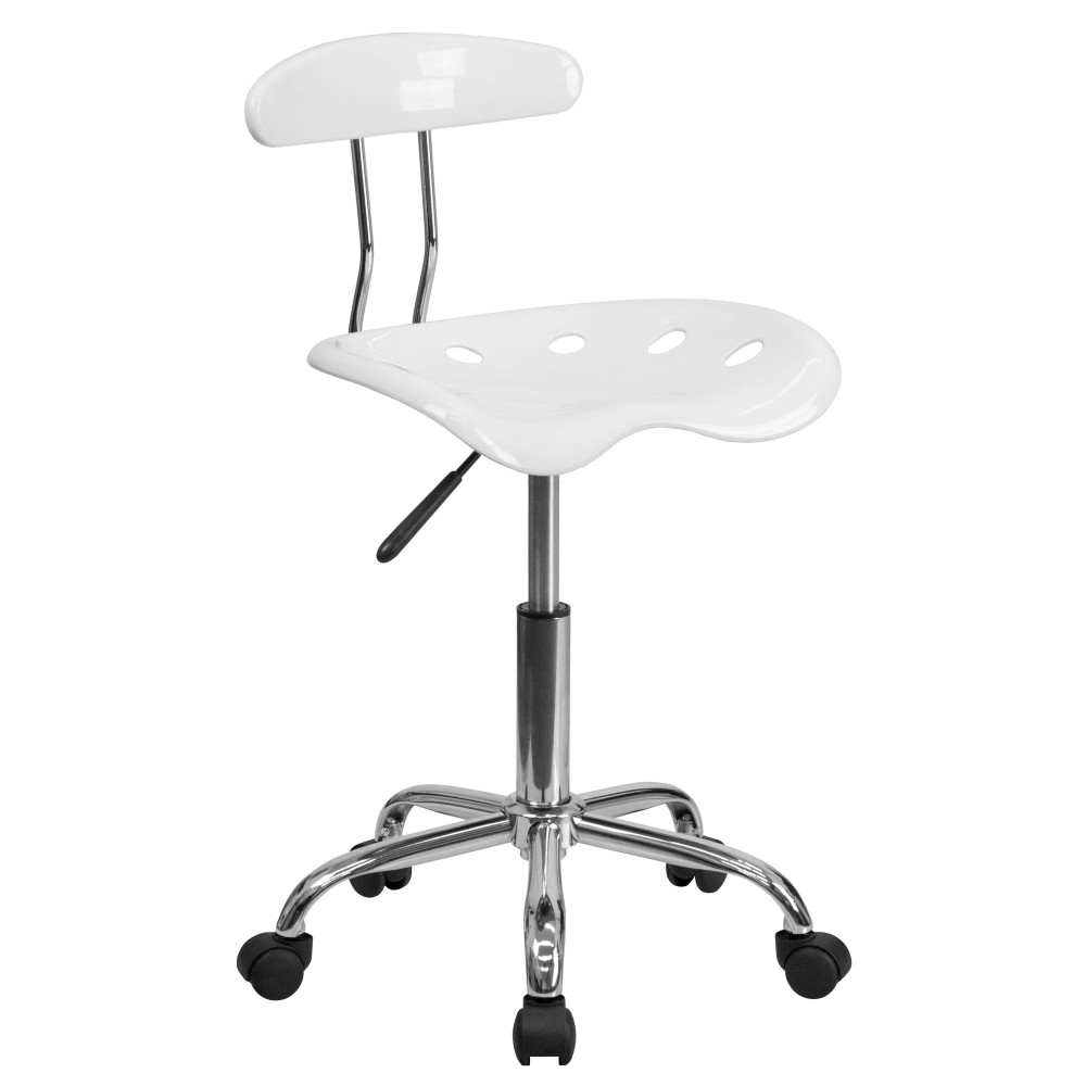 Vibrant White And Chrome Computer Task Chair With Tractor Seat