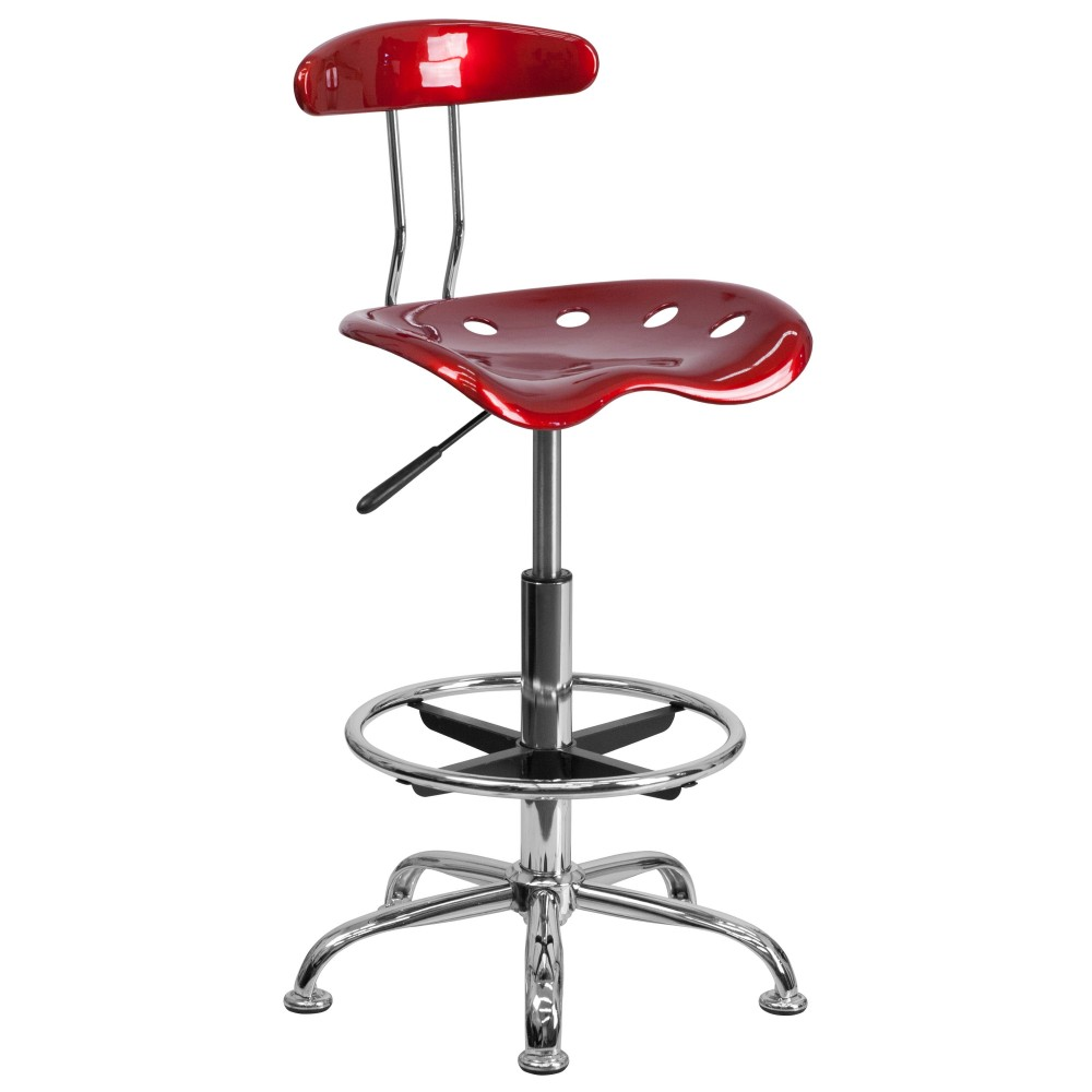Vibrant Wine Red And Chrome Bar Stool Height Drafting Stool with Tractor Seat