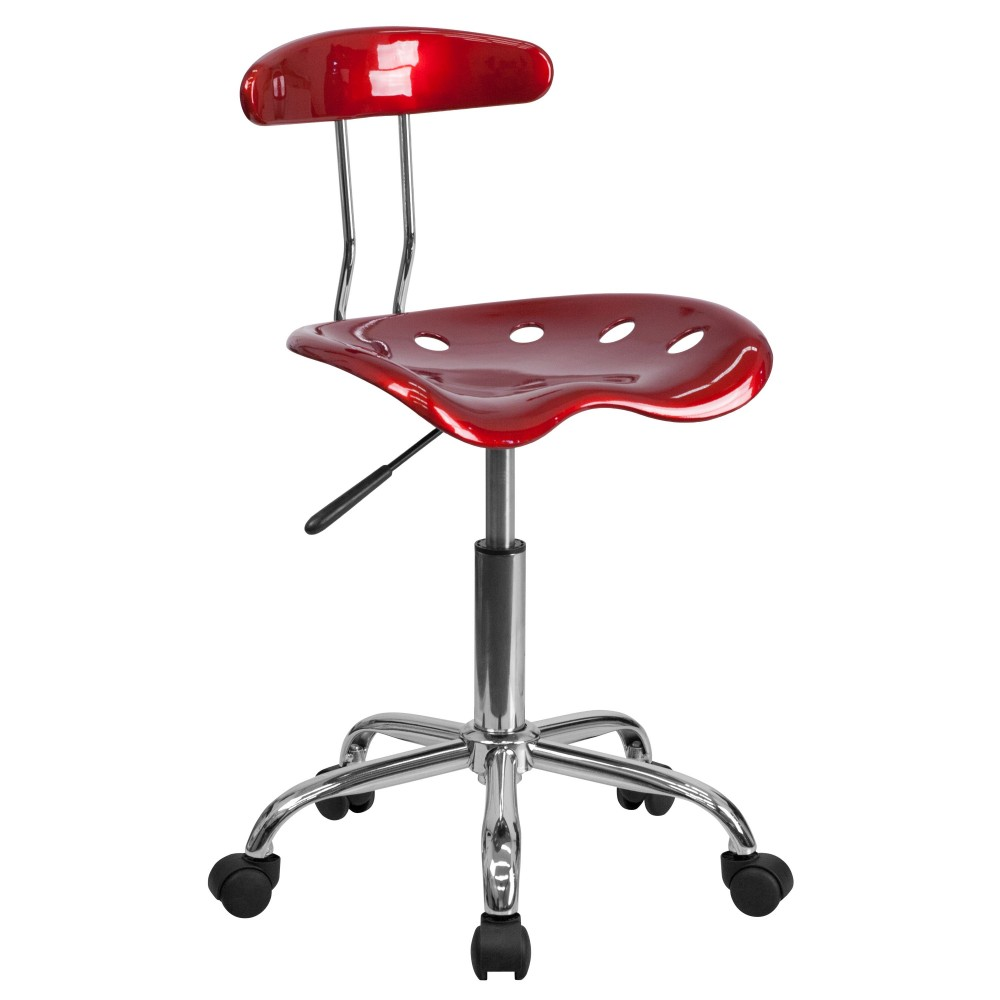 Flash Furniture LF-214-WINERED-GG Vibrant Wine Red and Chrome Computer Task Chair with Tractor Seat