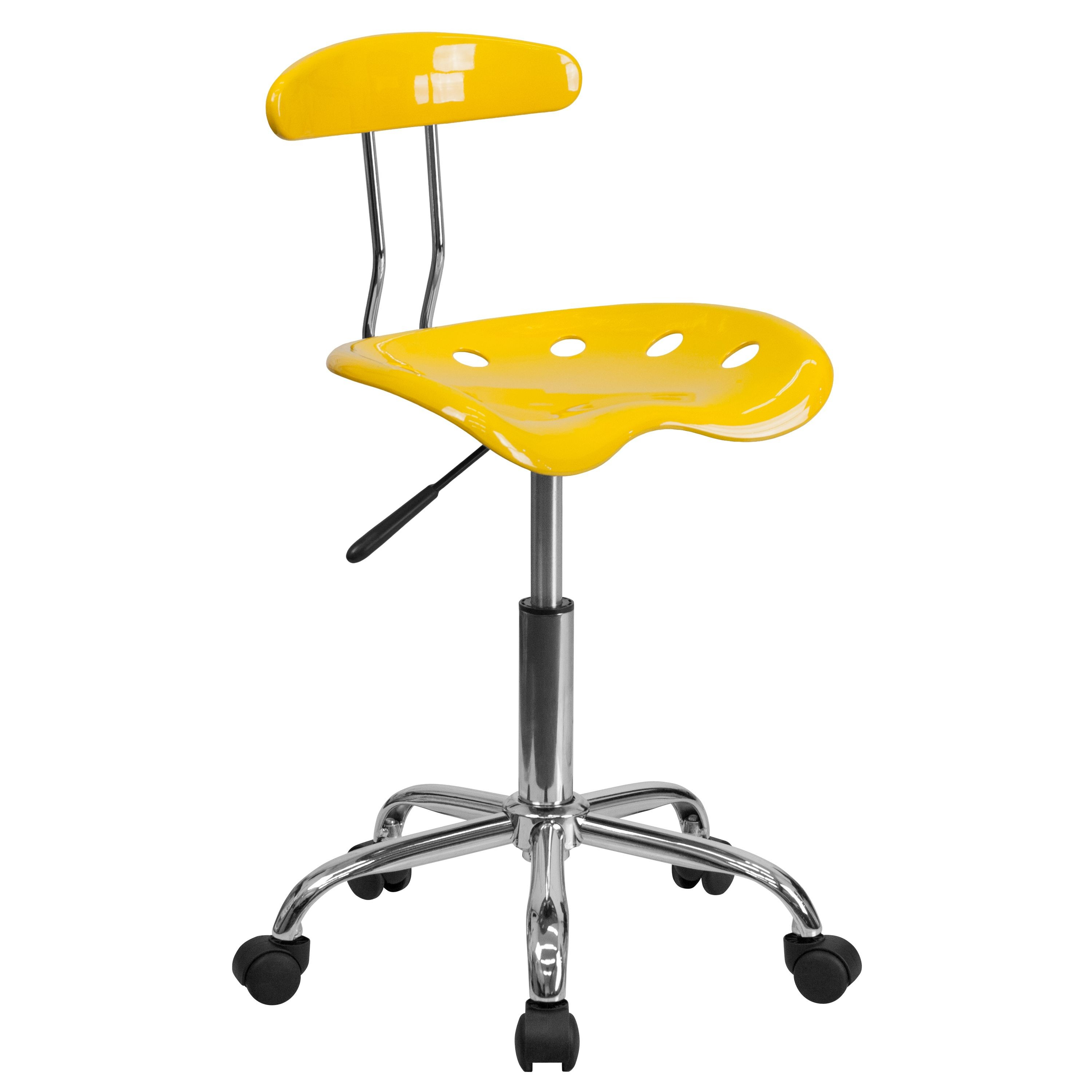 Flash Furniture LF-214-YELLOW-GG Vibrant Yellow and Chrome Computer Task Chair with Tractor Seat