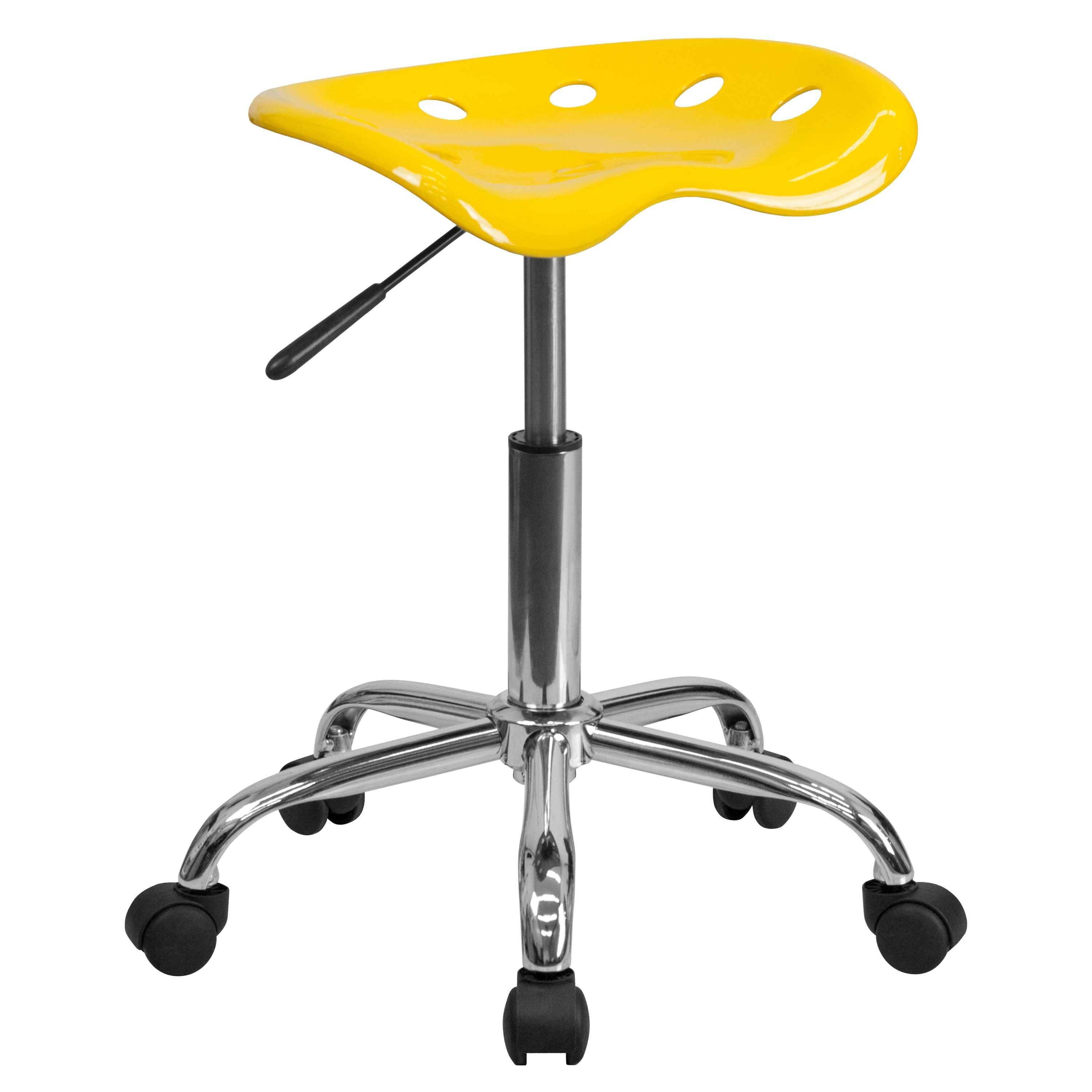 Flash Furniture LF-214A-YELLOW-GG Vibrant Yellow Tractor Seat and Chrome Stool