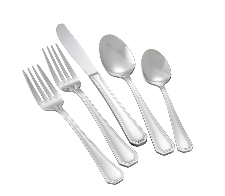Winco VICTORIA-HVY Victoria Extra Heavy Weight 5-Piece Place Setting for 12 (60/Pack)