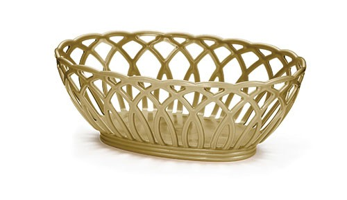 Vineyard Oval Basket, Beige, Polypropylene, 9 X 6-1/2 X 3-1/4
