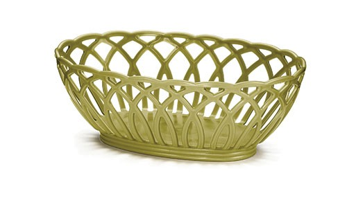 Vineyard Oval Basket, Earthy Green, Polypropylene, 9 X 6-1/2 X 3-1/4