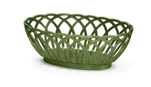 Vineyard Oval Basket, Green, Polypropylene, 9 X 6-1/2 X 3-1/4