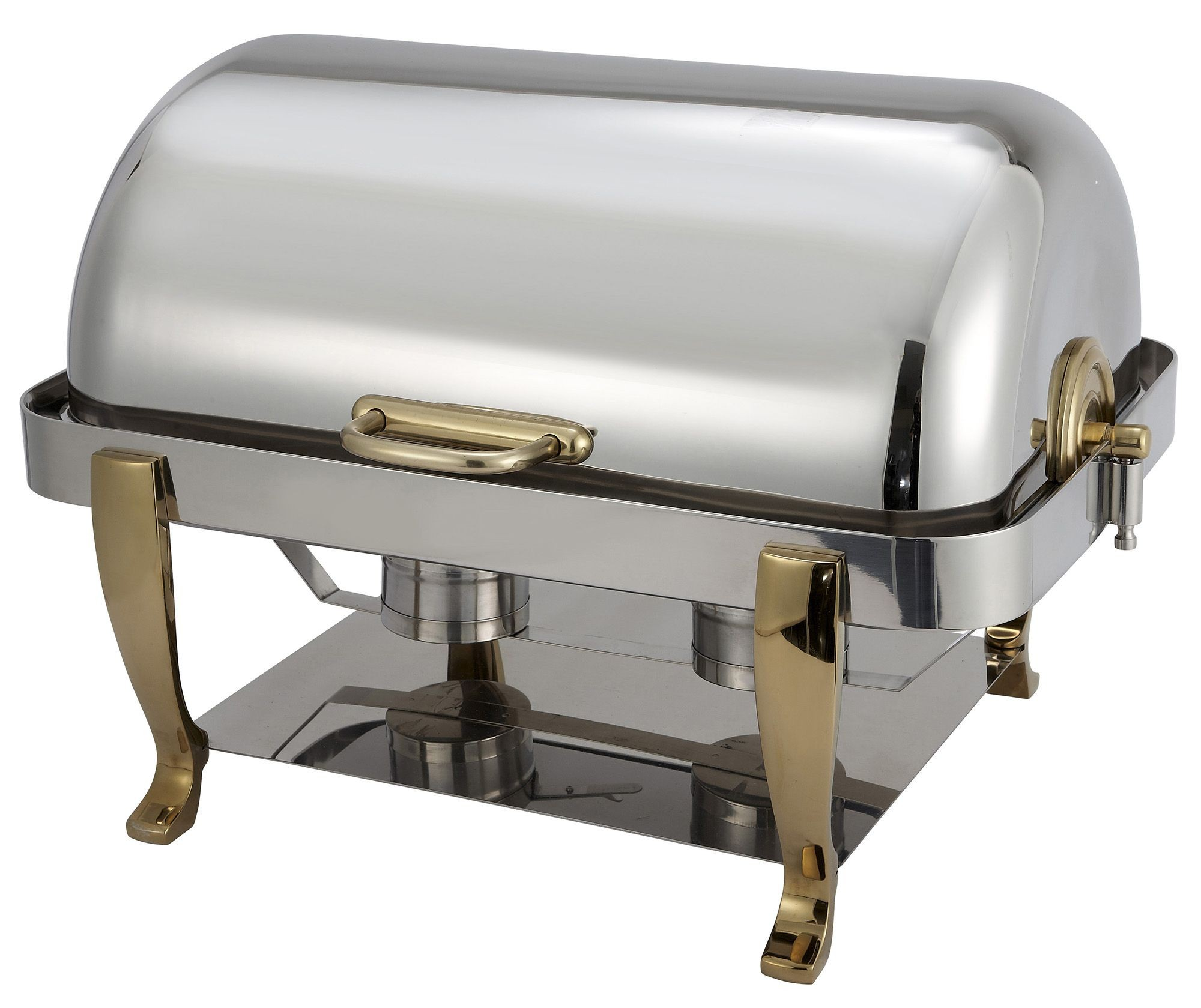 Winco 108A Vintage Full Size Roll Top Stainless Steel Stainless Chafer