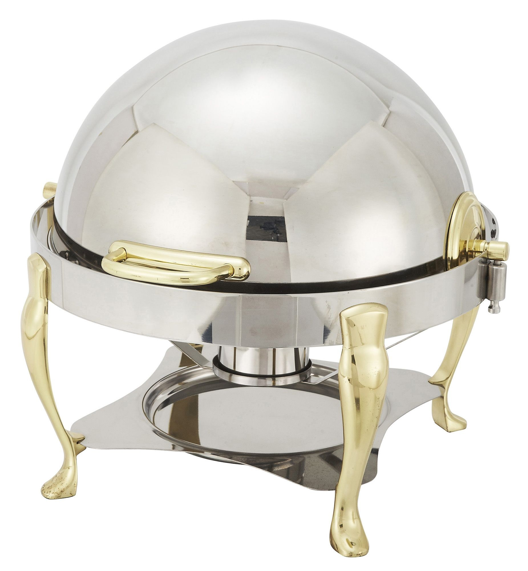 Winco 308A Vintage Gold-Plated Round Chafer 6 Qt.