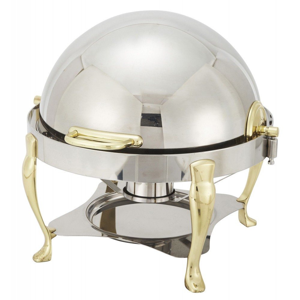 Vintage Gold Plated Round 6 Qt Chafer