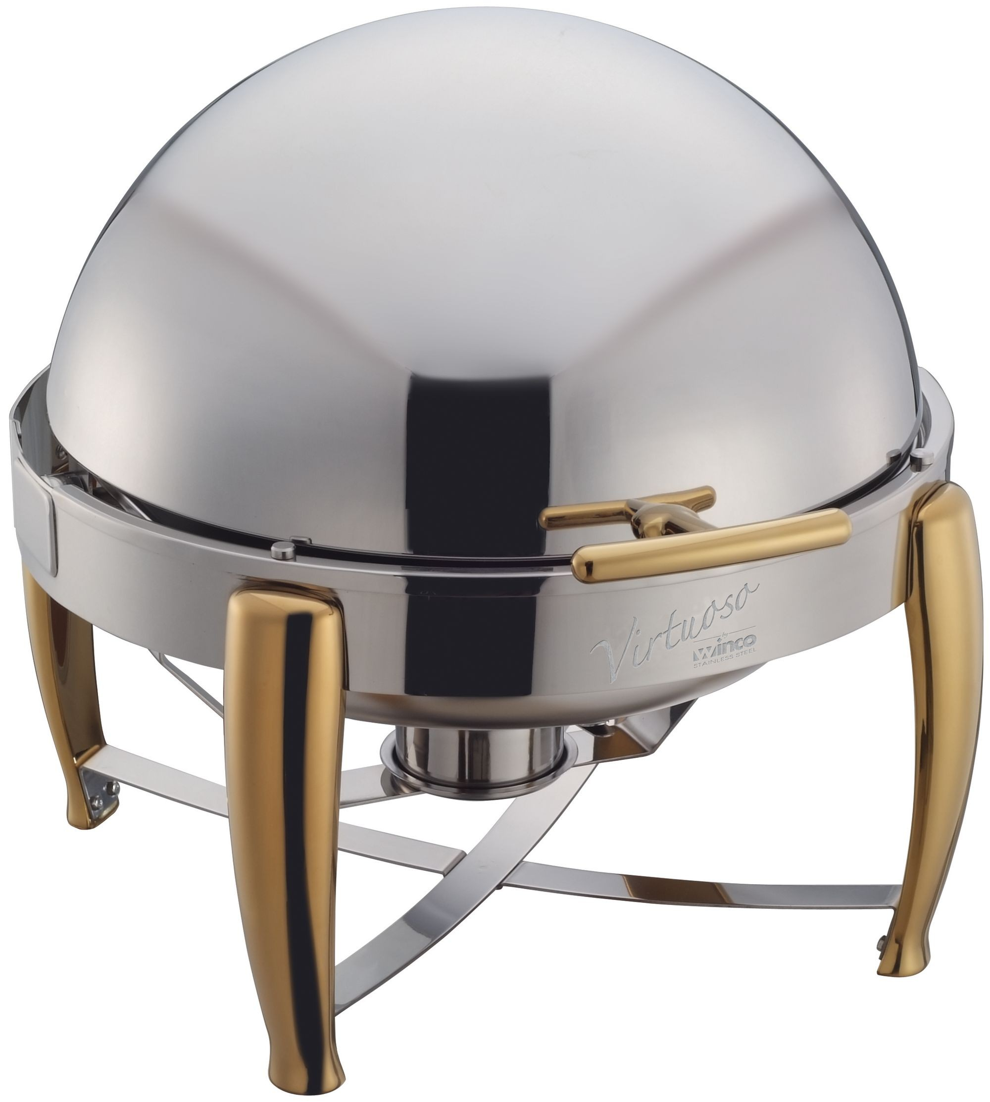 Winco 103A Virtuoso Round Chafer with Gold Accent 6 Qt.