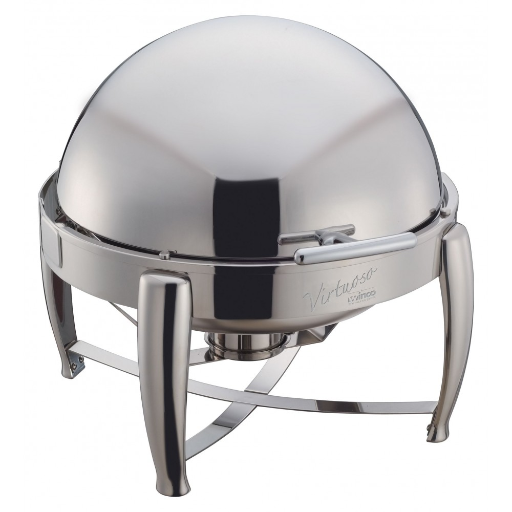 Winco 103b Virtuoso Stainless Steel Round Roll Top Chafer 6 Qt.
