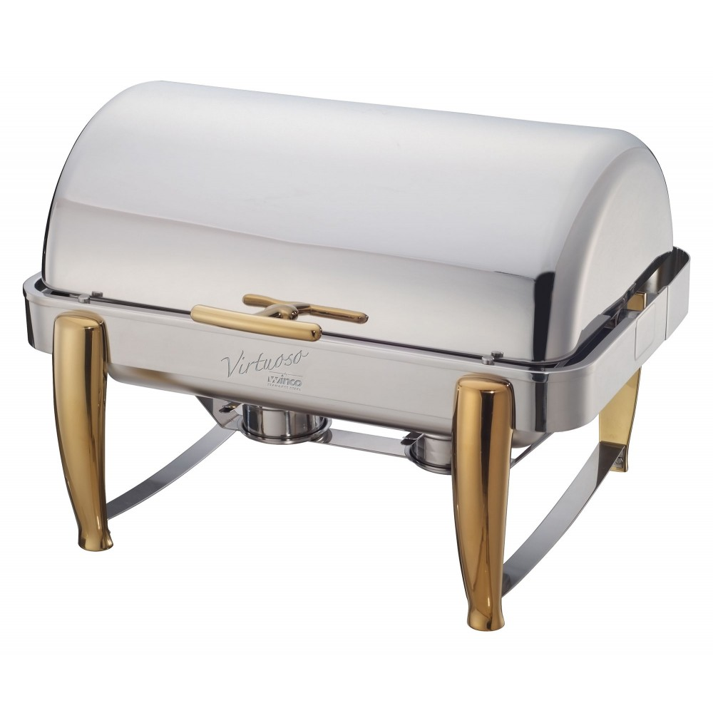 Virtuoso Full Size Roll-Top Chafer with Gold Accent 8 Qt