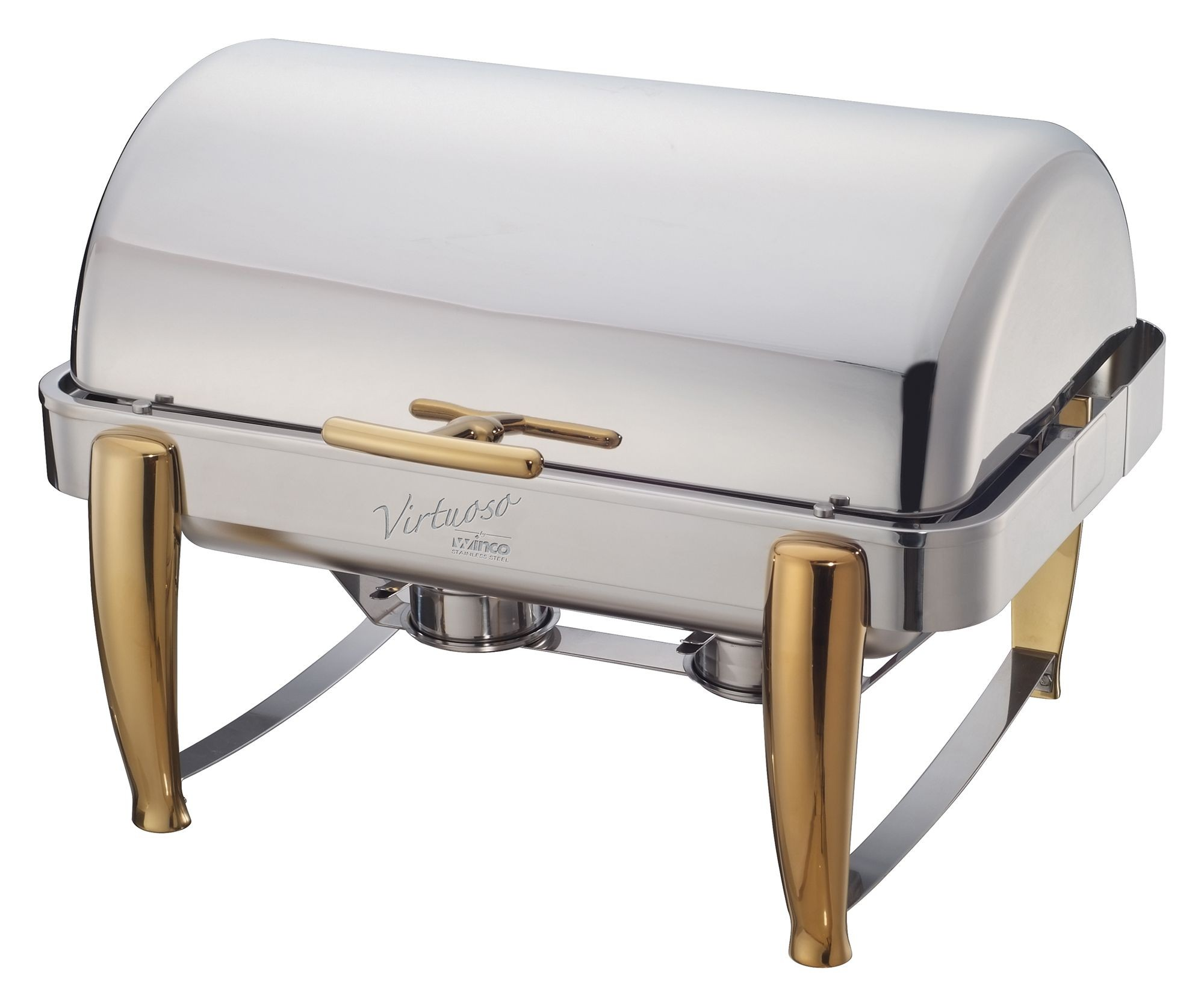 Winco 101A Virtuoso Full Size Roll-Top Chafer with Gold Accent 8 Qt.