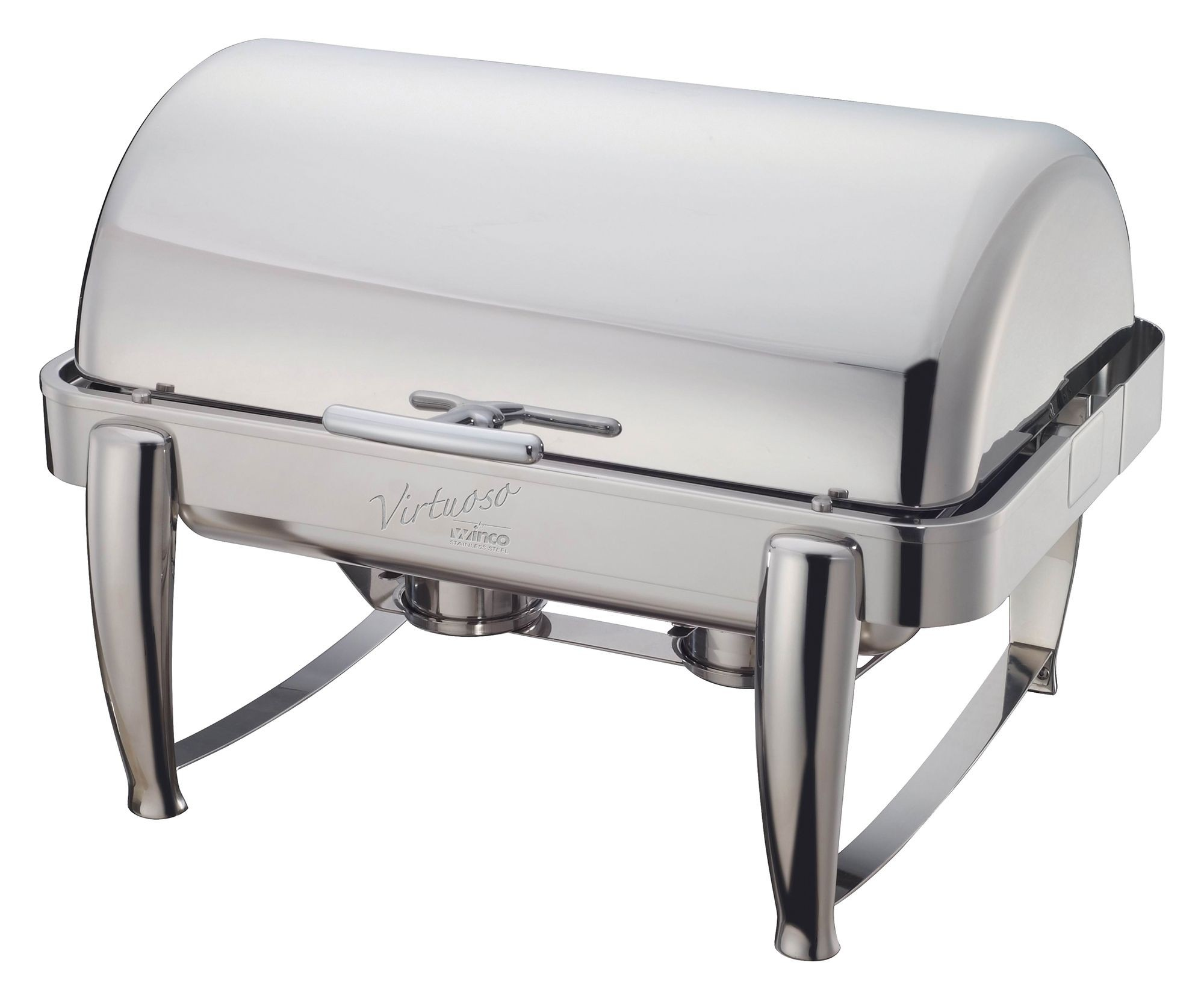 Winco 101B Virtuoso Full Size Stainless Steel Roll-Top Chafer 8 Qt.