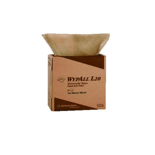 Wypall L20 General Purpose 2-Ply Wipers, Brown, 10 Boxes/Carton