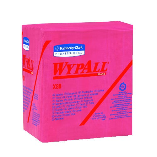 WYPALL* X80 Wipers, Quarter Folded, 12.5 X 14.4, Red