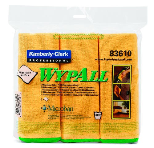 Wypall Microfiber Reusable Cloths, Yellow, 24/Carton