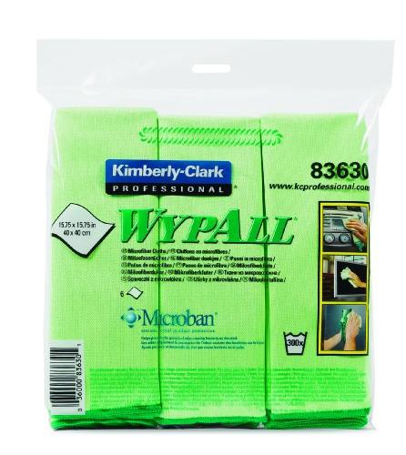 Wypall Microfiber Reusable Cloths, Green, 24/Carton