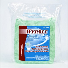 WYPALL Waterless Hand Wipes Refill Bags, Cloth, 10 1/2 x 12 1/4, Green, 75/Pack