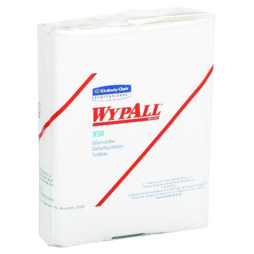 WYPALL X50 Wipers , Quarter Folded, White, 15.375 x 13.375 x 10.625