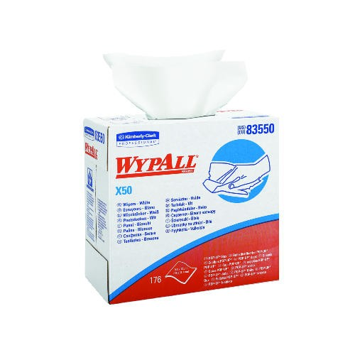 Wypall X50 All Purpose Wipers, POP-UP Box, White, 176/Box, 10 Boxes/Carton