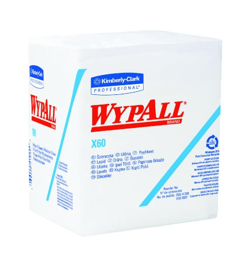 WYPALL X60 Wipers, Quarter Fold, White
