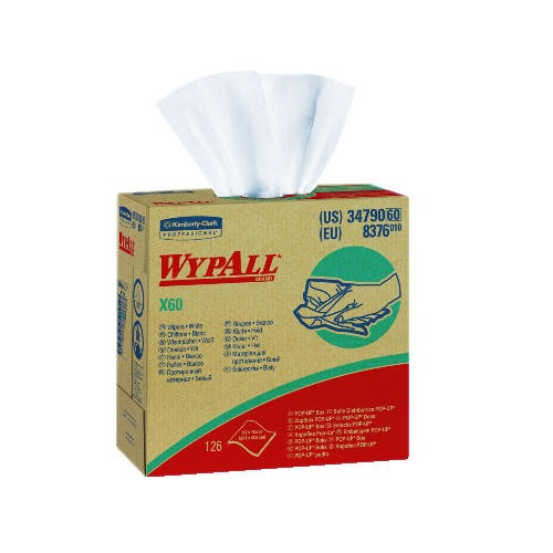 WYPALL X60 Wipers, White, 23.750 X 19.375 X 9.625