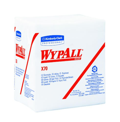 WYPALL X70 Wipers, Quarter Folded, Rags, White