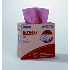 WYPALL X80 Wipers, POP-UP Box, 9 1/10 x 16 4/5, Red, 80/Box
