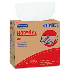 WYPALL X80 Wipers, POP-UP Box, 9 1/10 x 16 4/5, White, 80/Box