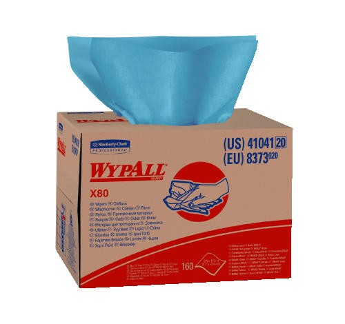 WYPALL X80 Wipers in Box, Blue, 12.5 X 16.8