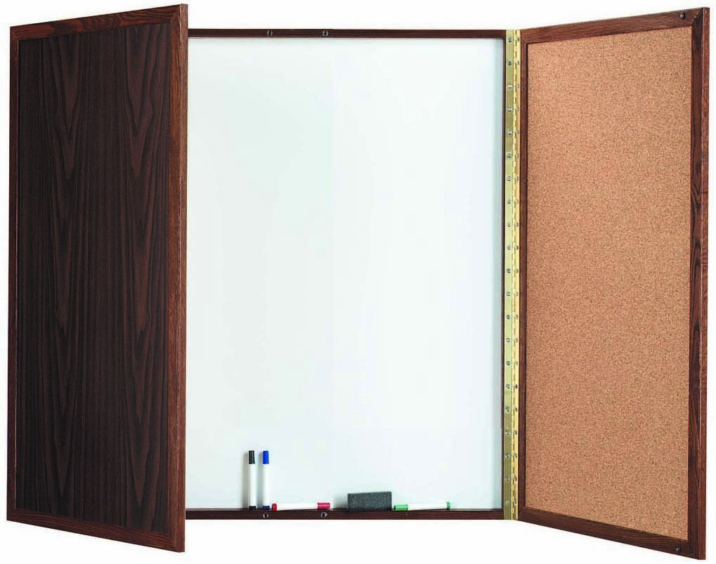 "Aarco Products WP-40 Walnut Enclosed Melamine Planning Board, 40""H x 40""W"