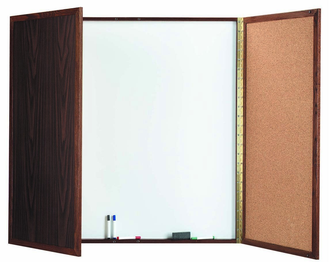 """Aarco Products WP-48 Walnut Enclosed Melamine Planning Board, 48""""H x 48""""W"""