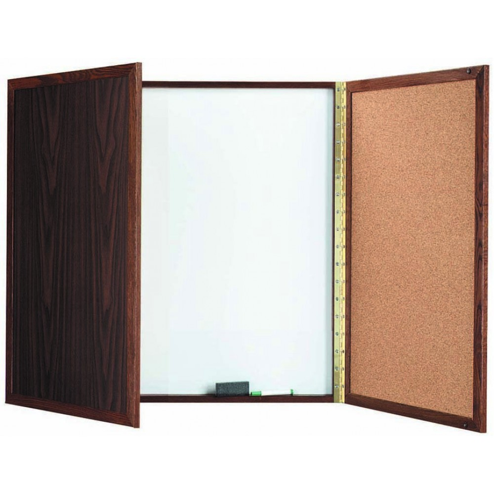 "Aarco Products WP-36 Walnut Enclosed Melamine Planning Board, 36""H x 36""W"