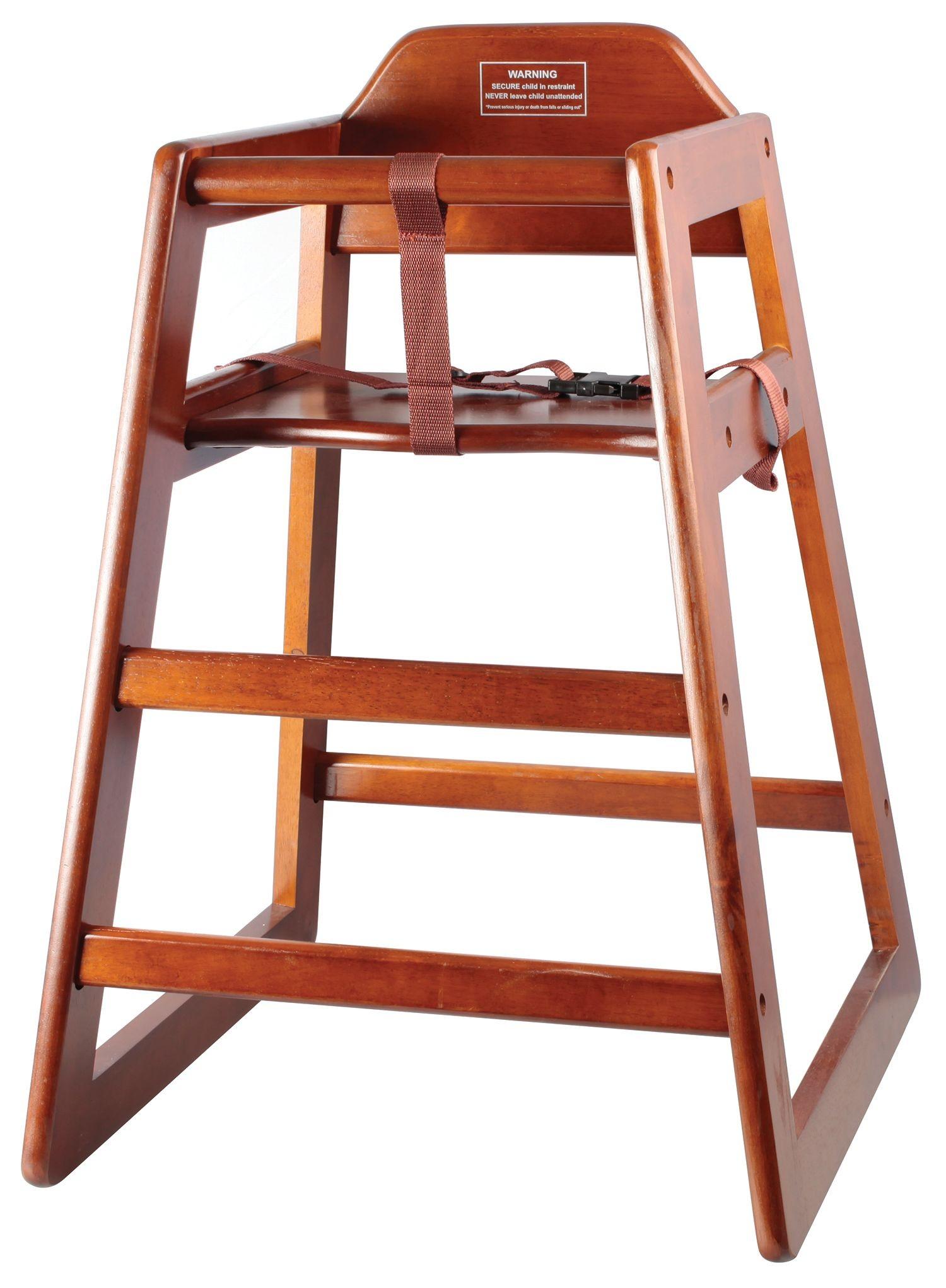 Winco CHH-104 Walnut Finish Stacking Hi-Chair (K/D)