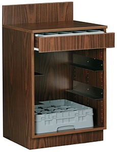 Royal Industries ROY 727 WA Walnut-Assembled Waitress Station with 1 Drawer and Rack Slides