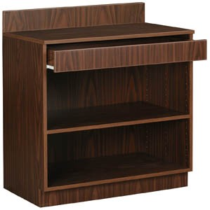 Walnut-Finish Waitress Station With 1 Drawer/1 Adjustable Shelf