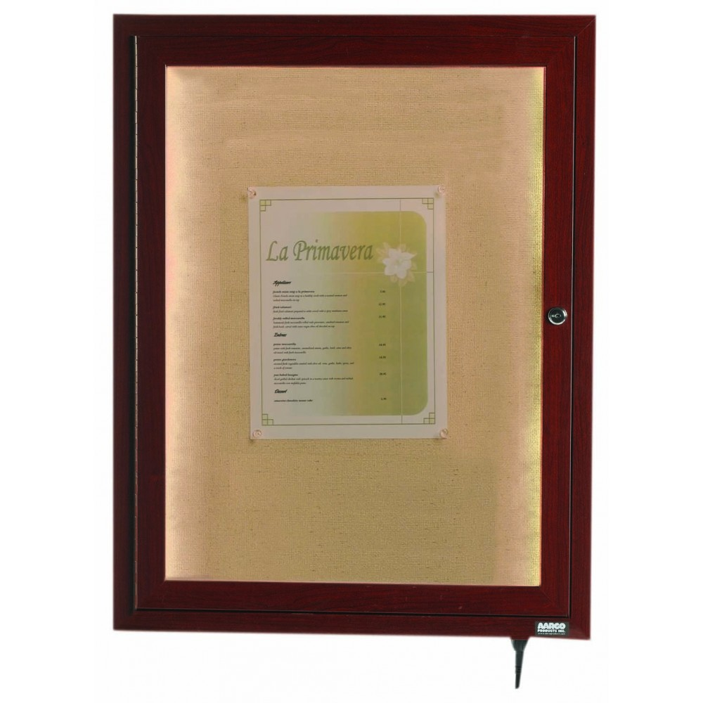 "Aarco Products LWL2418W Walnut Indoor/Outdoor Menu Display Case 24""H x 18""W"