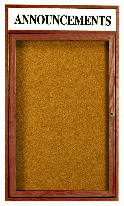 Walnut Stained Oak 1-Door Enclosed Bulletin Board Cabinet W/header - 24